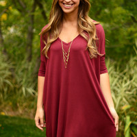 Half Sleeve Piko Dress - Plum