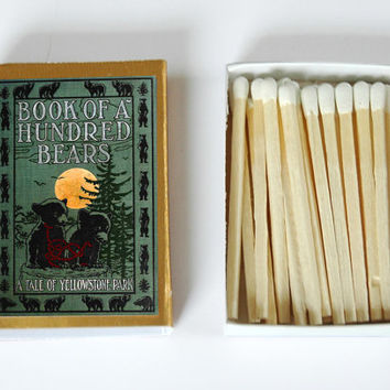 Book of a Hundred Bears: A Tale of Yellowstone Park - Book Covered Matchbox - Paper Art - Unique Gift - Light a Literary Spark