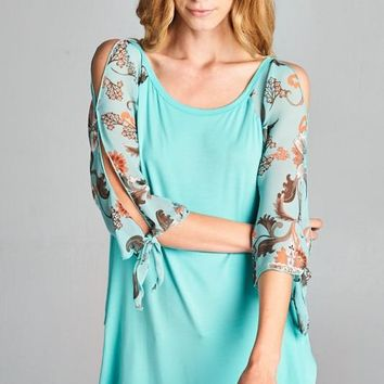 Floral Chiffon Sleeve Summer Top