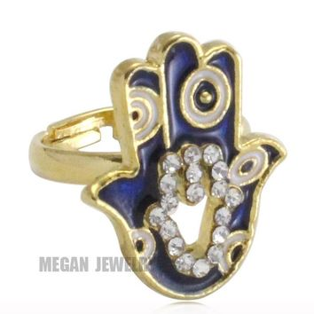 Muslim turkey Evil Eye Hamsa Hand Of Fatima crystal ring for men & women, Islam jewelry & gift