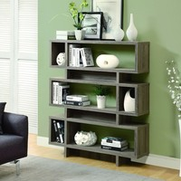 "Dark Taupe Reclaimed-Look 55""H Modern Bookcase"