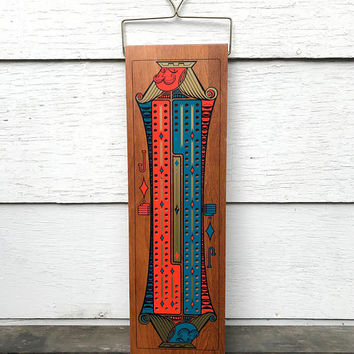 "Vintage Giant Cribbage Board, Jack of Diamonds Hanging 24"" Cribbage Board, No Pegs, Stancraft, circa 1950s-1960s"