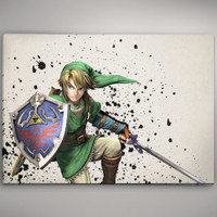 Legend of Zelda Link Skyward  Game Watercolor Poster Gift Art  No162