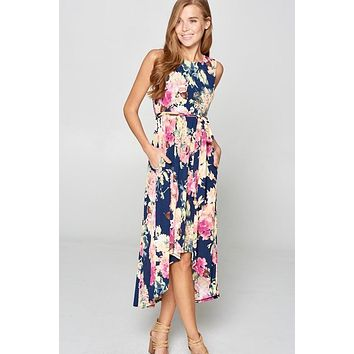 High Low Navy Floral Dress