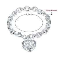 Stylish Puffed Heart Charm Rolo Link Bracelet For Woman