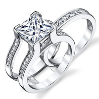 3 Carat Princess Cut Sterling Silver and Cubic Zirconia 3 in 1 Wedding Ring Band, Bridal Set Size 7