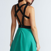 Millie Multi Back Strap Detail Flared Dress
