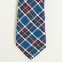 Blue, White & Red Brushed Cotton Plaid Tie