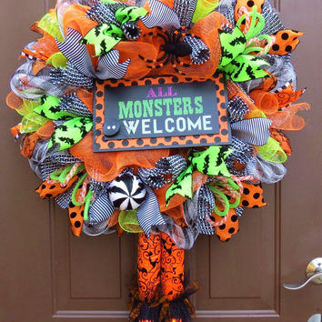 Halloween Wreath - Halloween Deco Mesh Wreath - Witch Mesh Wreath - Witch's Legs Deco Mesh Wreath - All Monsters Welcome