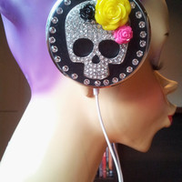 Skull Headphones with swarovski  Crystals