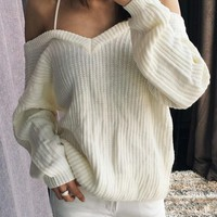 Casual White Plain Shoulder-Strap V-neck Fashion Cotton Pullover Sweater