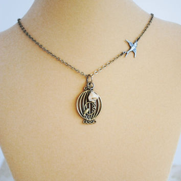 Bird Cage Necklace - Sparrow Charm - Sweet Freedom Necklace