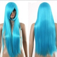 HealthTop Miku Long Light Blue Straight Wig 80cm New Heat Resistance Cosplay Wig Anime Show & Party Wig& Performance Hair Full Wigs