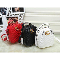 Gucci Trending Pure Color Leather Double G Bookbag Shoulder Bag Handbag Backpack