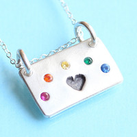 HEART and RAINBOW necklace, square pendant with a rainbow of GEMSTONES, eco-friendly silver. Handcrafted by Chocolate and Steel