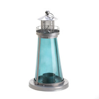BLUE GLASS WATCH TOWER CANDLE LAMP