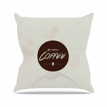 "Juan Paolo ""But First, Coffee"" Beige Brown Throw Pillow"