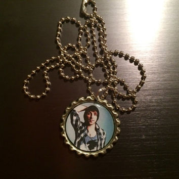Alex Gaskarth All Time Low face bottlecap necklace