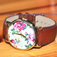 Peony Artificial leather Watch, Fashion Wrist Watch Retro Style Women's Watch  CP77