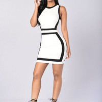 Allison Dress - White/Black