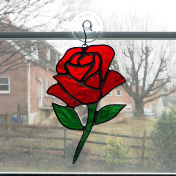 Red Rose Stained Glass Suncatcher - Rose Ornament - Valentines Day Gift - Anniversary Gift - Wedding Gift - Flower Suncatcher - Glass Flower