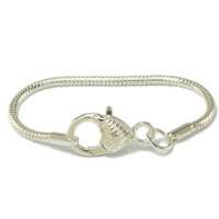 Starter European Bead Bracelet Featuring Oversized Heart Lobster Claw - Fits Euro-Style Bracelets - Major Brand Compatible Bead Charm
