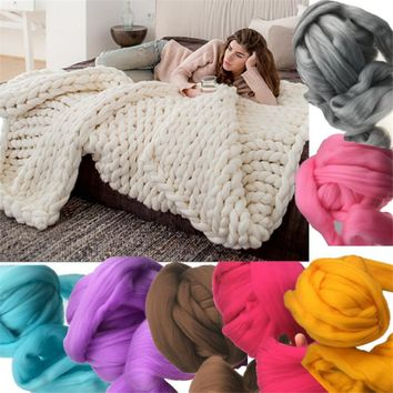 *online exclusive* chunky knitted wool throw blanket