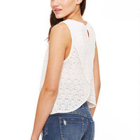 Split Back Ecru Lace  Tank - Multi