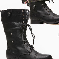 Black Faux Leather Floral Fold Over Combat Boots