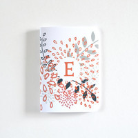 Floral Personalized Journal | Illustrated Monogram Notebook in Coral Pink : The Bursting Botanicals Collection Pocket Journal