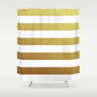gold stripes Shower Curtain by Her Art