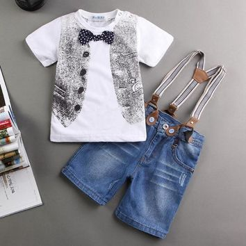 EMS DHL Free  NEW Baby Boys Kids Boys outfit 2 pc Suit T shirt Denim Suspender Pants Summer Style Casual Suit baby boy clothes