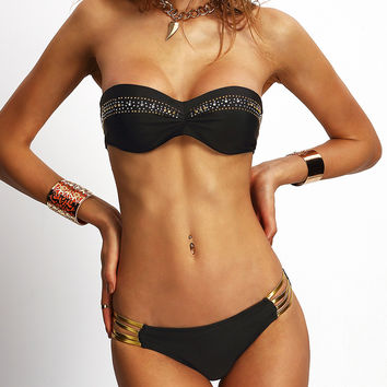 Black Rhinestone Studded Ladder Bandeau Bikini Set