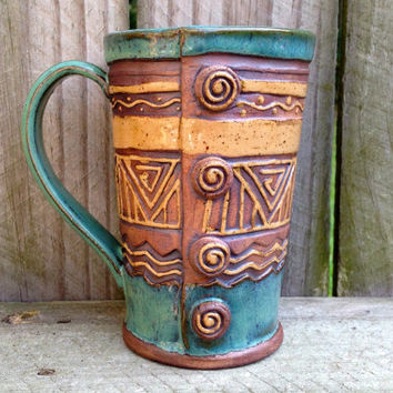 Hand Built Stoneware Button Mug - Blue Green, Turquoise, Brown, Tan - Coffee, Tea - Slab Pottery - 12 oz. - Geometric, Triangles, Zig Zag