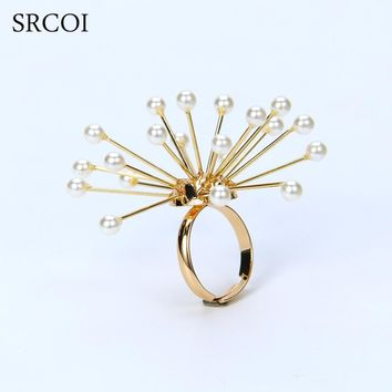 SRCOI Imitation Pearl Fireworks Flower Rings-For-Women Exaggerate Delicate Gold Color Lady Party Wedding Adjustable Open Rings