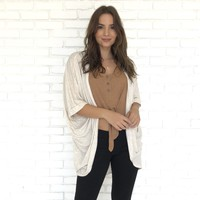 Sheer Knit Rolled-Sleeve Cardigan in Oatmeal