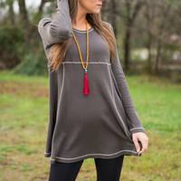 Cheers To Fall Top, Charcoal