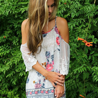 Free Spirit Summer Navy Floral Print Open Shoulder Peasant Dress