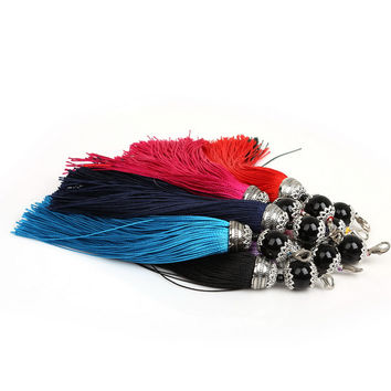 Hot sale Jewelry Findings Mix color Silk Tassel Acrylic Beads Cap Charm for Bags Moblie Making Mob Straps Keychain