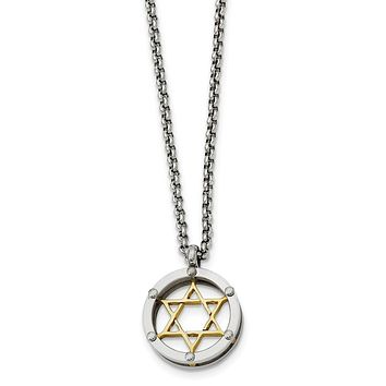 Stainless Steel and Gold Tone Star of David Necklace - 20 Inch