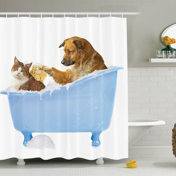 "Cat Lover Decor Shower Curtain Set by Ambesonne Dog and Kitty in the Bathtub Together with Bubbles Shampooing Having Shower Fun Artsy Print Bathroom Accessories 75 Inches Long Multi Multi 15 69"" W By 75"" L"