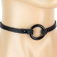 Seductive Black O Ring Thin Leather Choker Gothic Deathrock Collar