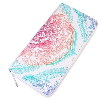 Colorful Mandala Print Zipper Wallet