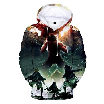 Cool Attack on Titan 3D Harajuku Hooded Sweatshirt  Cosplay Print Hoodies Japan  Hiphop Style Good Quality Clothing With Hat AT_90_11