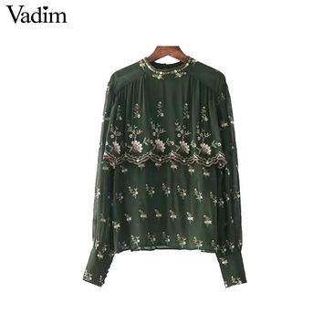 Women vintage floral embroidery chiffon shirts long sleeve o neck loose blouses casual retro tops