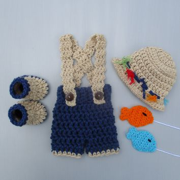 Crochet Fishing Outfit Denim Blue Newborn Photo Prop