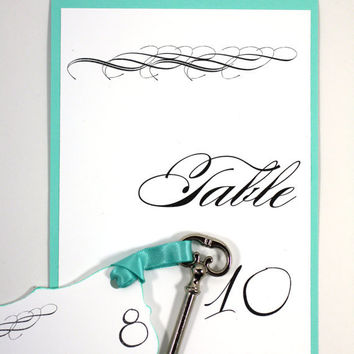 Elegant Table Cards - Wedding Seating Table Card  - Silver Foil Lettering - Set of 10