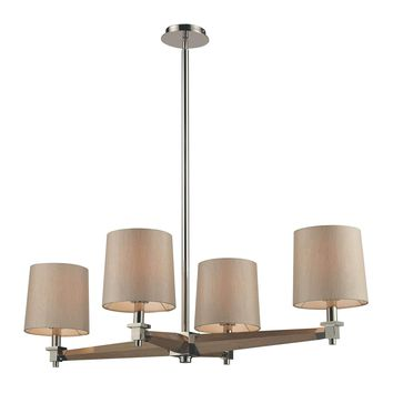 Jorgenson 4 Light Chandelier In Polished Nickel And Taupe Wood