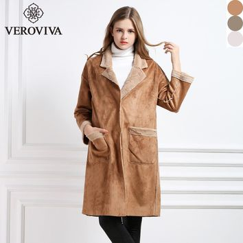 VEROVIVA Autumn  chamois Coat Women Single Breasted Turn-down Collar Pockets Long Coat Casual Slim Faux Fur Leather Suede Coat