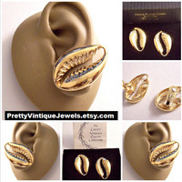 Coreen Simpson Cowrie Sea Shell Clip On Earrings Gold Tone Vintage Avon 1993 Collection Set Polished Open Oval Crimped Edges